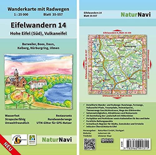 Eifelwandern 14 - Hohe Eifel (Süd), Vulkaneifel 1 : 25 000: Wanderkarte mit Radwegen, Blatt 35-557, 1 : 25 000, Barweiler, Boos, Daun, Kelberg, Nürburgring, Ulmen