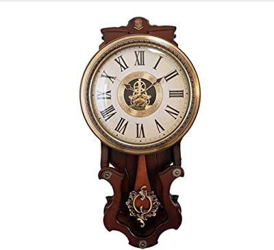 Wall Clock Home Non-Ticking Silent Gears for Living Room Decor Vintage Retro European Wood