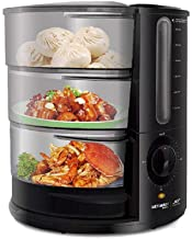 Vaporizador de alimentos vegetales, 9 Qt 1500 W Vaporizador eléctrico de calentamiento rápido con 3 niveles, Cesta de vapor para alimentos de pescado, Soportes para huevos Alimentos para bebés, Negro