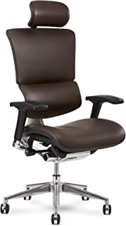X Chair X4 Leather Executive Chair, Brown Leather with Headrest