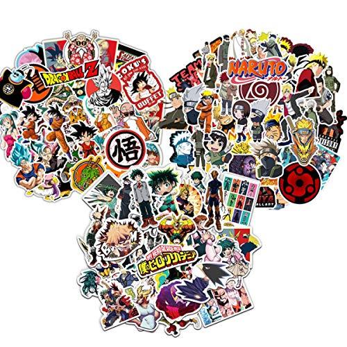 150 pegatinas de anime, de las 3 mejores series de anime japonesas, Bola de dragón, My Hero Academia y Naruto, 50 pegatinas cada una