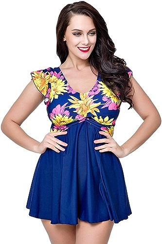 YouPue Maillot de Bain une piece Femme Manche Courte Push up Rembourré plagewear maillot de bain avec Jupette Floral Impression