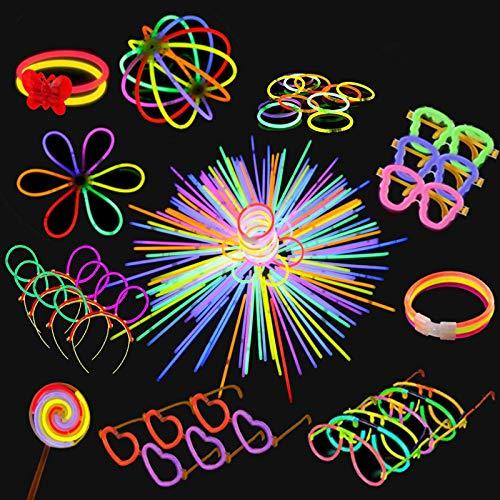 Yidaxing Pulseras Luminosas de Fiesta Colores con Conectores para Hacer Glow Sticks Pulseras, Collares, Kits para Crear Gafas Fiestas (440 pcs)