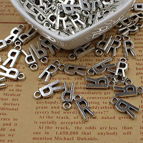 WANM 20 Pcs Double Side Alphabet(A-Z) Letter Tag Charm Pendant Initials Jewelry Making Diy Handmade Craft