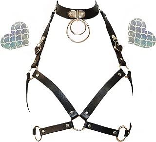 Women Rave Constume PU Leather Bra Chest Body Harness Punk Cage Waist Belt (Send 2 Pasties)