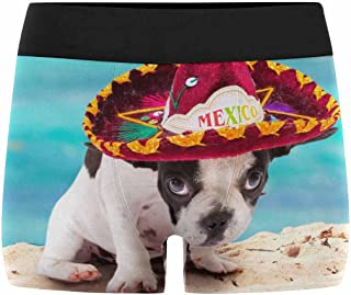 Men's All-Over Print Boxer Briefs French Bulldog Puppy in Mexican Sombrero on The Beach (XS-3XL)