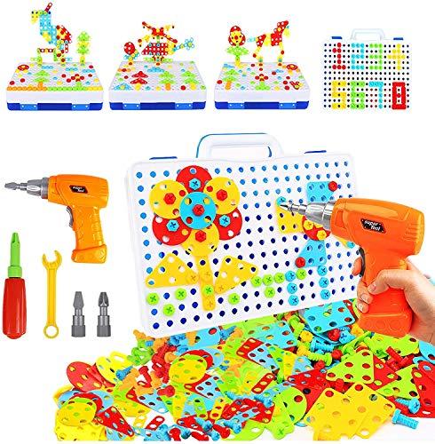 YIJIAOYUN Steckspiel Schraube Spielzeug - 3D Puzzle bohrmaschine Kinder Kinderspielzeug ab 3 Jahre Alt Pädagogisches Spielzeuge mit Elektronischem Bohrer Baustein Spielzeug für Kinder Junge Mädchen
