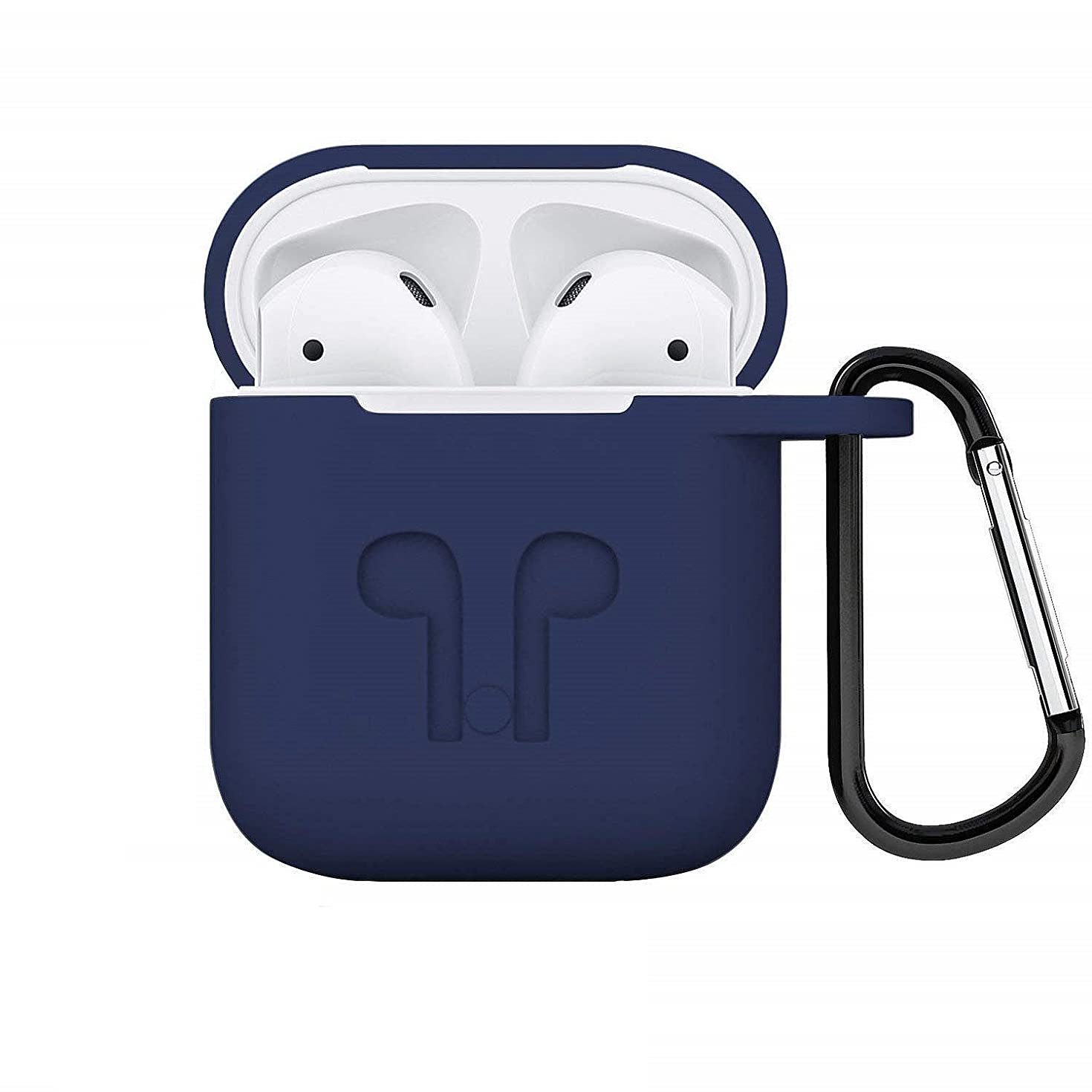 IAich Compatible Apple AirPods Case, Full Protective Cover Portable Silicone Skin with Keychain (Navy Blue)