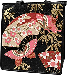 Hawaiian Tropical Lunch Bags For Women | Insulated Lunch Box Tote Bag | Lunch Organizer Holder For Men | Great For Work, Beach, Office, Picnic (Sakura Fan Black)