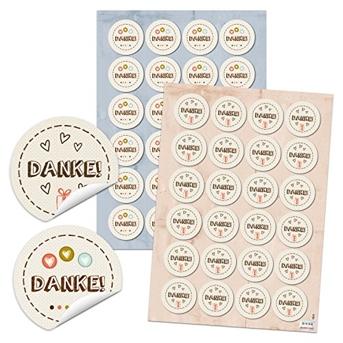 2 x 24 DANKE Aufkleber Sticker beige natur creme braun Herz rot Dankeschön selbstklebende Geschenkaufkleber Etiketten Geschenk-Verpackung Kunden give-away Mitgebsel