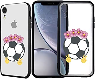 [Inkmodo] Clear TPU Case for iPhone XR - Soccer Ball Emoji Floral Crown Girly Sport Printed Unique Design Pattern Cover