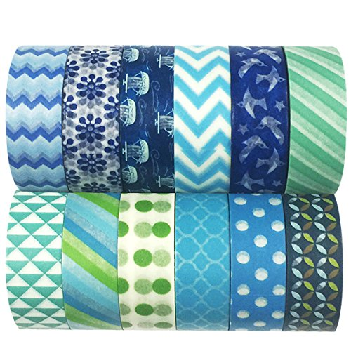 AllyDrew Blue & Greens Washi Tapes Decorative Masking Tapes (ADSET14), Set of 12