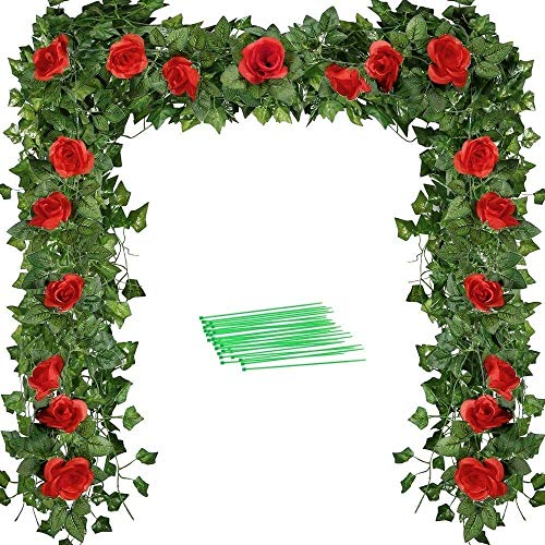 Christmas decoration 86 Ft-12 Strands Artificial Ivy Garland and 6.9 Ft Fake Red Rose Vine with 50 Pieces Cable Ties for Wedding Party Decoration Garden Wall Greenery Decoration Tropical Party Decor
