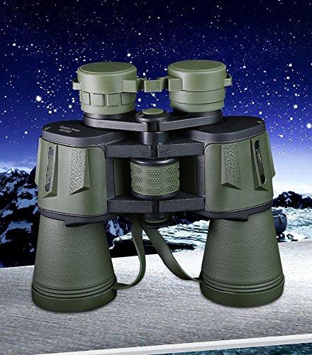 WYJS 20X50 Binoculares de Alta Potencia de Alta Definición de Visión Nocturna No Infrarrojo Telescopio,Ejercito verde