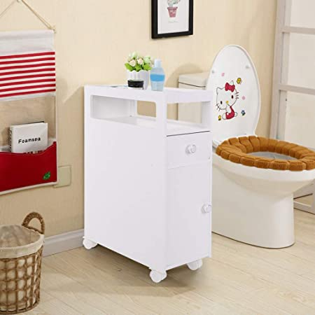 Uk Ship Bathroom Storage Units Freestanding Tall Bathroom Cabinet Wall Mounted Cupboard Furniture Freestanding Bathroom Under Sink Drinks Cabinet Utility Tallboy Furniture For Corner With Scroll Wheel Amazon Co Uk Kitchen Home