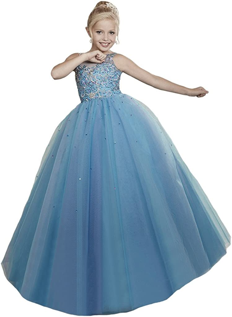 Dexin Girls' Straps Beaded Nippon regular agency Ball Gowns Cheap mail order specialty store Pageant Princess Dresses