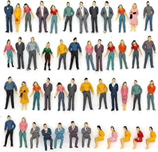 50pcs Building Model Trains Layout 1:50 Painted Figures O Scale Sitting and Standing People Assorted Pose
