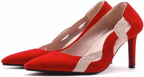HBDLH Chaussures pour femmes 10 Cm De Talons Rouge Au Printemps été Et Les Chaussures Petite Et Forte De Chaussures.