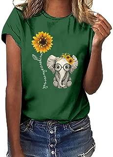 JustWin Women Plus Size Shirt Short Sleeve T Shirt Tops Lovely Print Elegant Tank Top
