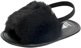WARMSHOP Toddler Newborn Baby Solid Flock Soft Prewalker Princess Casual Anti-Slip Slipper Elastic Band Sandal Shoes