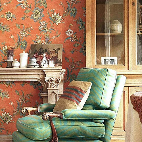 Blooming Wall Vintage Countryside Flower Floral Wallpaper Wall Mural For Livingroom,Bedroom, Kitchen,20.8 In32.8 Ft=57 Sq.ft, S05 Green/Red (Red)