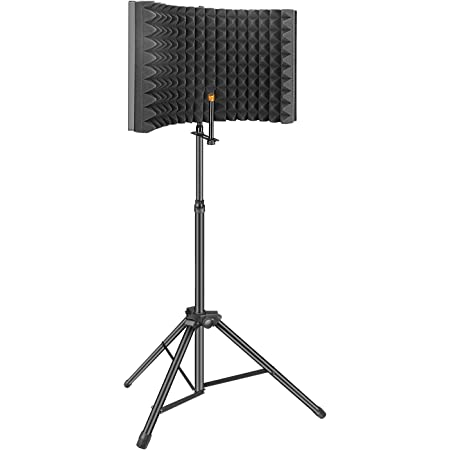 Aokeo Professional Studio Recording Microphone Isolation Shield, Pop Filter.High Density Absorbent Foam is Used to Filter Vocal. Suitable for Blue Yeti and Any Condenser Microphones(AO-302 With Stand)