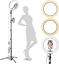 "Radiance 10"" Ring Light with Tripod Stand (74"" Tall) - Dual Phone Holders, 3 Lighting, Selfie Circle LED Lights Ringlight ..."