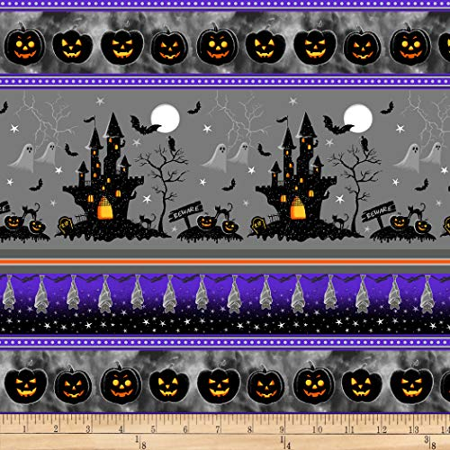 Henry Glass Metallic Hocus Pocus Halloween Stripe Gray Fabric by the Yard