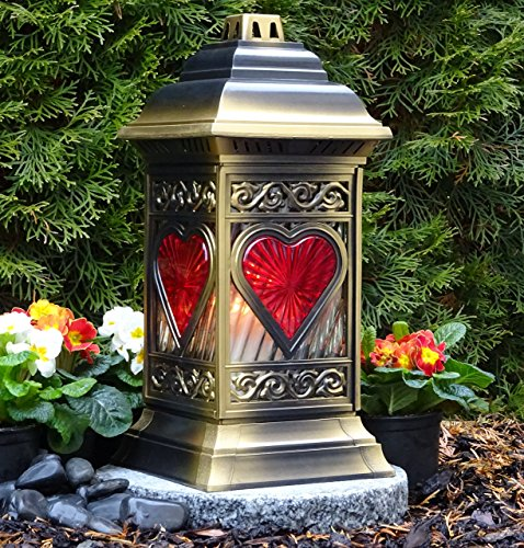♥ Grablaterne Grablampe mit Herz 36,0cm Bronze mit LED Grabkerze Grabschmuck Grableuchte Grablicht Laterne Kerze Lampe