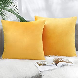 Yiflin Velvet Throw Pillow Covers 18 x 18 Inch Set of 2, Soft Solid Decorative Cushion Covers for Couch Sofa Bedroom Car, Gold Yellow