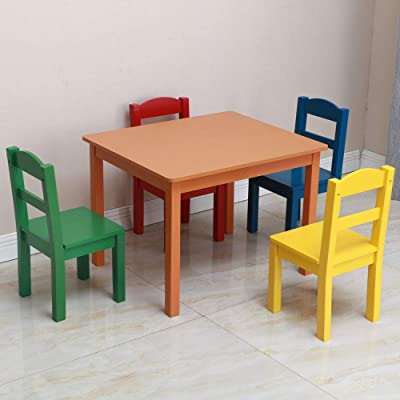Kids Wood Table  4 Chairs Set (Multi-Color)