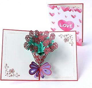 Apanphy® San Valentín 3D Amor Tarjeta Love Card, Creativa Tarjeta de Felicitación Aniversario Tarjeta Boda Invitación Tarjetas Deseos Regalo Papel Pop-up Tarjeta de Amor con Sobre (B)