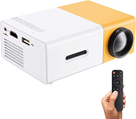 $49 Get Gunor Mini Projector, YG300 Portable LED Projector Support PC Laptop USB Stick USB/SD/AV/HDMI Input for Video/Movie/Game/Home Theater Video Projector, Best Gift for kid (Yellow)