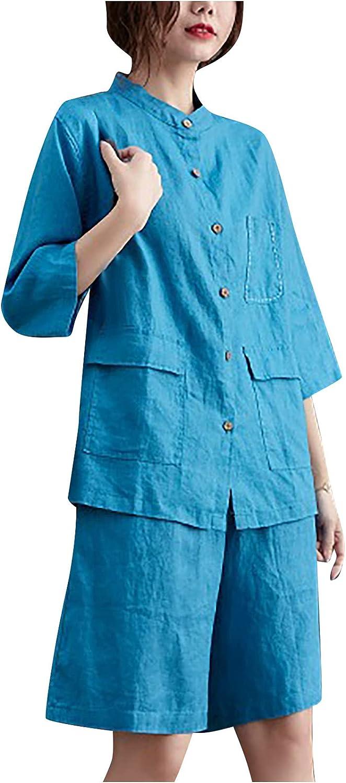 Women's Casual Solid Color Cotton Linen Pullover Top Knee Length Wide Leg Pants Two Piece Suit