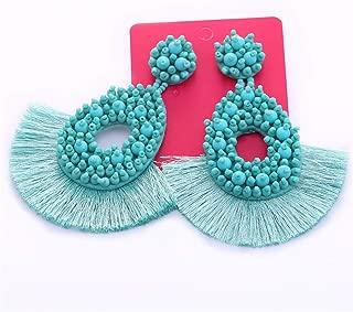 Beaded Drop Earrings For Women Wedding Bohemian ZA Drop Dangle Earings E1138 Turkey Blue