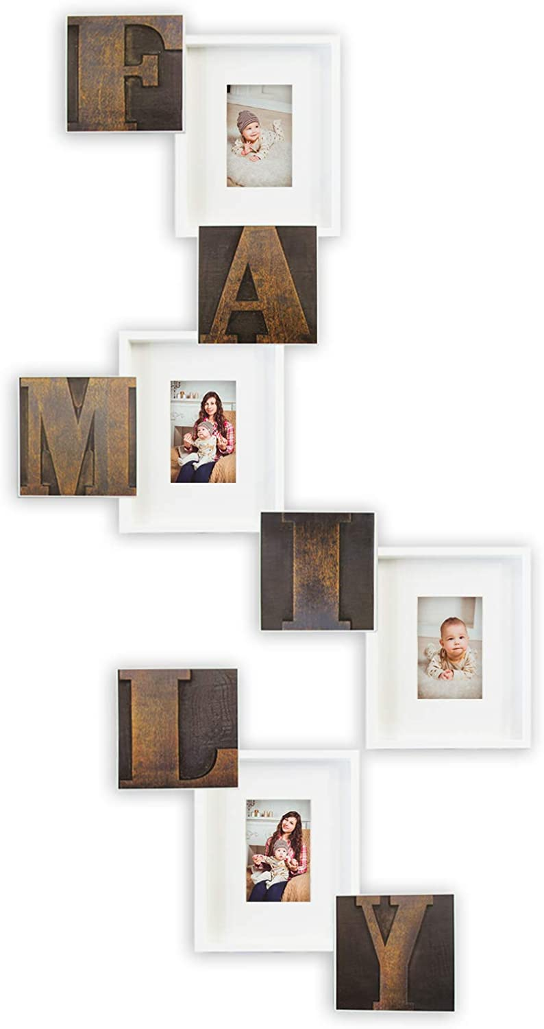 Hello Laura - Photo Frame Family Theme 10 Set Rustic Red & White - Picture Frame Gallery Collection Display Free Adjustable Style Hanging Stand Easel - Birthday Christmas Holiday Grandparents Gift