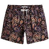 MaaMgic Shorts de Baño para Hombre Shorts de Playa Traje de Bañode 4-Way Stretch Secado Rápido para Vacaciones-14 cm, Paisley Negro Dorado,M