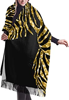 Animal Illustration Of Vector Zebra Silhouette With Golden Sparkley Elements. Women'S Shawl Wrap Winter Warm Scarf Cape Large Scarf Oversized Scarves