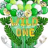 Decoraciones Fiesta Cumpleaños,Verde Bosque Baby Birthday Set (64 Equipos), Banner, Globos De Oro Verde Glitter Cortina, Coloridos Globos De Látex Para Niños, Adulto,Cumpleaños Decoración Baby