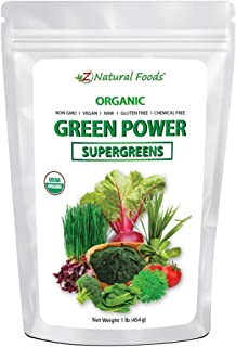 Organic SuperGreens Green Power - All Natural Vegetable Superfood Mix - Barley Grass, Wheatgrass, Spirulina, Spinach, Broc...