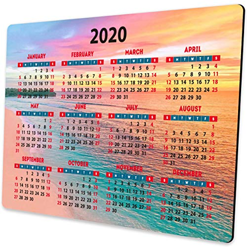 2020 Calendar Mouse pad Seaside Beach Sunset View Mouse Pads for Computers
