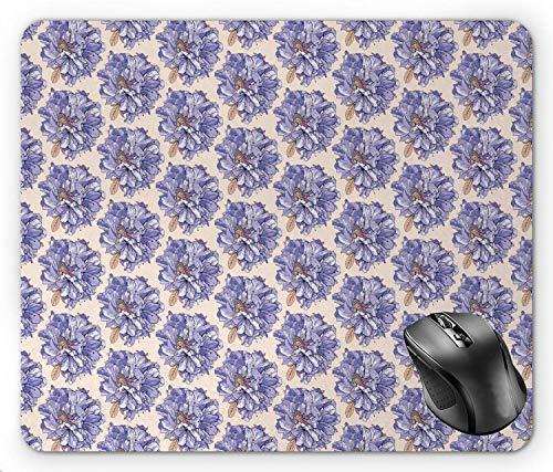 Blumiges schönes Frühlingsmuster mit zartem schönen Blumenstrauß, Champagner-Lavendel-blaues pastellbraunes Mauspad