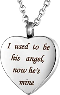 Valyria Heart Cremation Urn Necklace Memorial Keepsake Jewelry - Engraved I Used to be his Angel, Now He's Mine