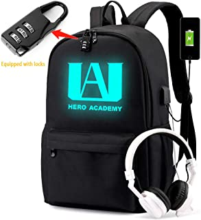 Luminous Backpack with USB Charging Port and Password Lock Anti Theft Laptop Backpack Unisex Fashion Bookbag Daypack Travel U.A High School Logo Bag