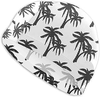 Sprutea Coconut Tree Print for Textile Design Image Customized Durable Soft Swim Cap Summer Unisex Suitable for Aqua Aerobics