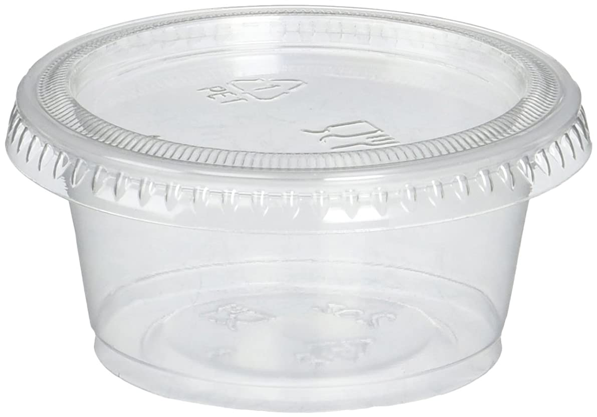 Reditainer RDSC200100 Plastic Disposable Portion Souffle Cup with Lids, 2 Ounce (100 Count), Package