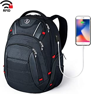 Laptop Backpack,Swissdigital Busniess Travel Backpack with USB Charging Port