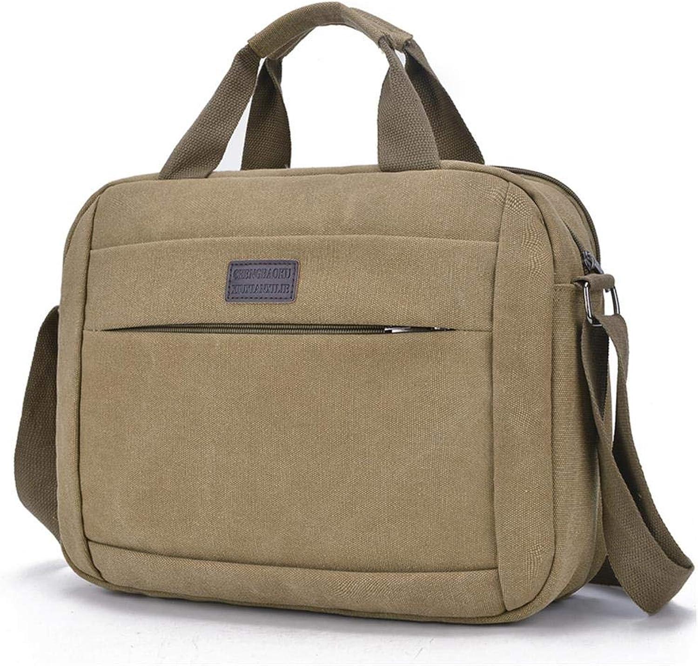 Männer Leinwand Leinwand Leinwand Tasche einfache Umhängetasche Messenger Bag Handtasche Reise-Business-Tasche, Khaki B07MTJ4NHC b38466