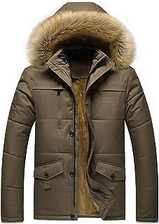 64d6cd48c3d46 TAGGMY Jacket Men Fashion Winter Warm Plus Size Black Coat with Fur Medium  Length Zipper Thickened