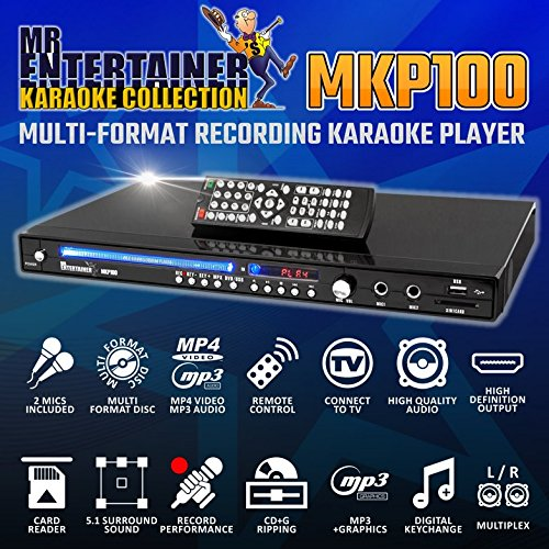 Mr Entertainer MKP100 CDG DVD MP3G Karaoke Machine Player. Aufnahme Karaoke-Maschine. HDMI/Rip/USB